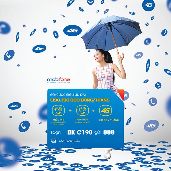 Đăng ký gói C190 Mobifone có ngay60GB & gọi nội mạng dưới 10p miễn phí giá 190.000đ