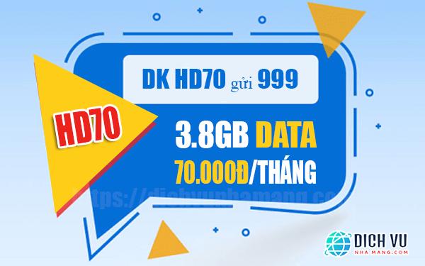 Đăng ký gói HD70 Mobifone nhận ngay 3.8GB sử dụng 30 ngày