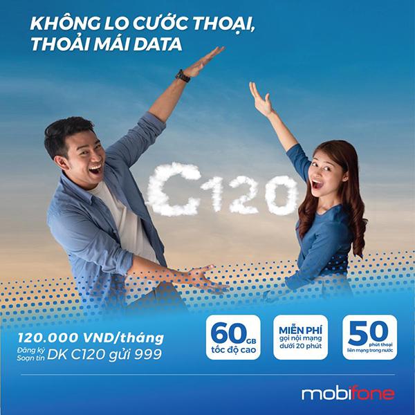 Đăng ký gói C120 Mobifone ưu đãi 60GB & gọi nội mạng dưới 20p miễn phí