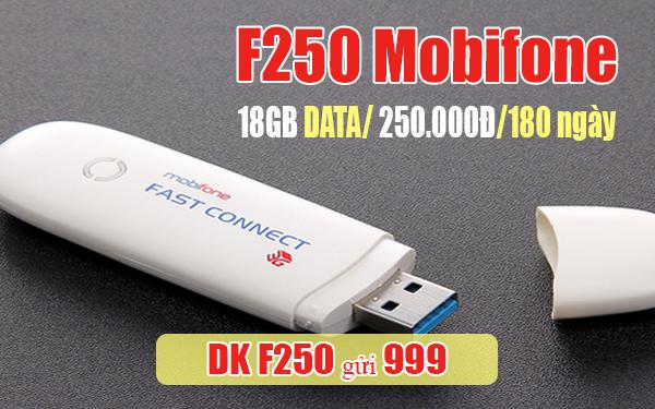 Đăng ký gói F250 Mobifone ưu đãi 18GB Data trong 6 tháng