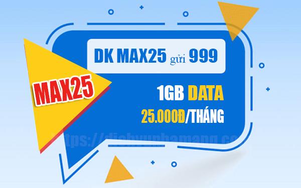 Đăng ký gói Max25 Mobifone mua thêm 1GB Data