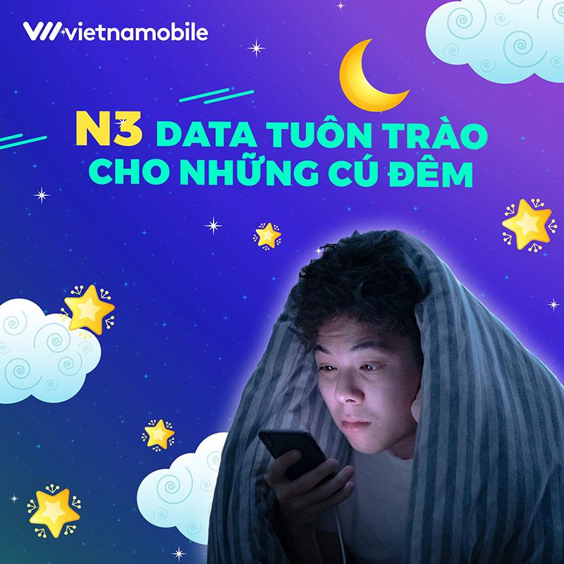 Đăng ký gói N3 Vietnamobile Data tuôn trào cho các cú đêm