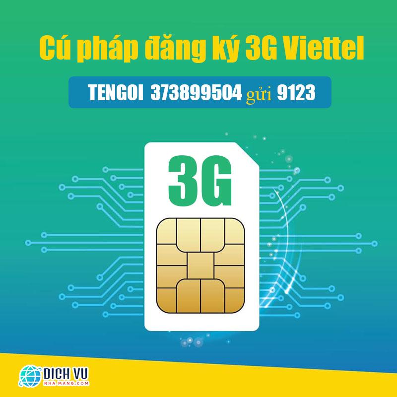 Cú pháp đăng ký 3G Viettel