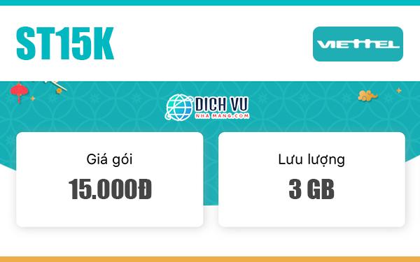Đăng ký gói ST15K Viettel có ngay 3GB sử dụng 3 ngày