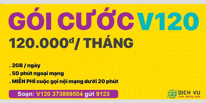 Gói V120 Viettel miễn phí 60GB và Gọi nội mạng, ngoại mạng miễn phí