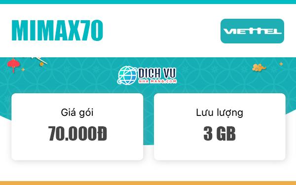 Đăng ký Gói Mimax70 Viettel có ngay 3GB Data trọn gói mỗi tháng