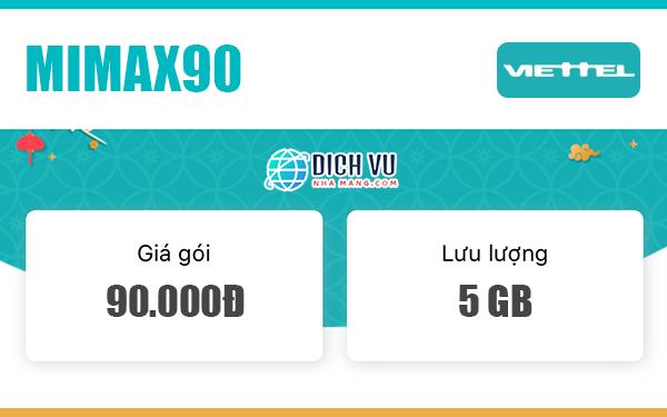 Đăng ký gói Mimax90 Viettel ưu đãi 5GB trọn gói mỗi tháng