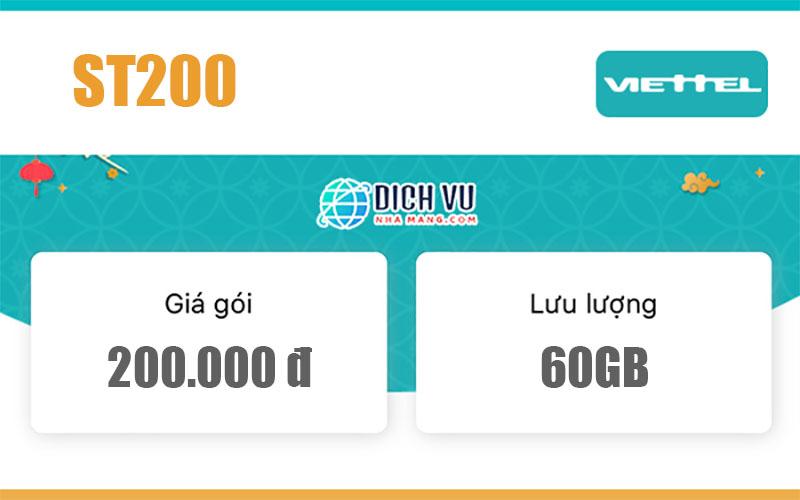 Gói ST200 Viettel - 60GB và Miễn phí gọi nội mạng dưới 20phút