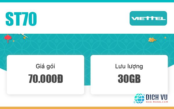 Gói ST70 Viettel – Ưu đãi 1GB/ngày trong 30 ngày giá chỉ 70k