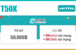 Đăng ký gói Combo T50K Viettel có 200 phút nội mạng & 100 SMS nội mạng