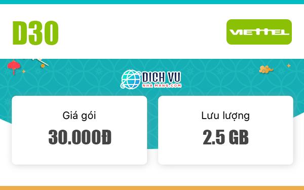 Đăng ký gói D30 Viettel có ngay 2.5GB / tháng