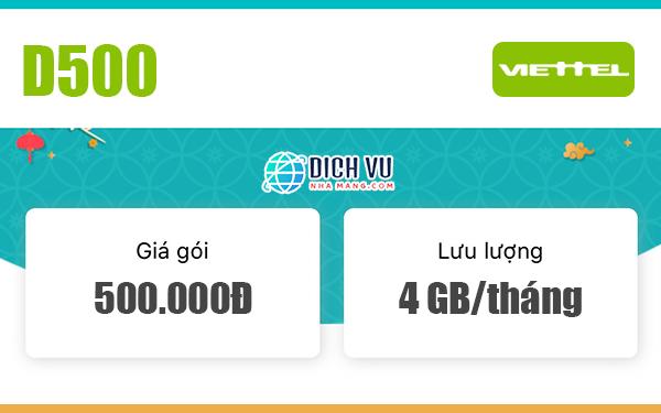 Đăng ký gói D500 Viettel có 4GB/tháng x 12 tháng