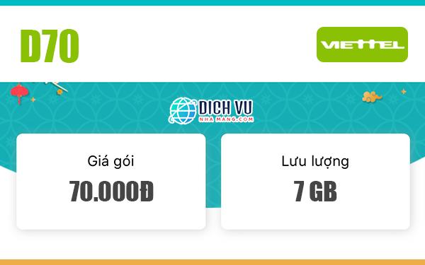 Đăng ký gói D70 Viettel có ngay 7GB sử dụng 30 ngày