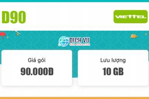 Đăng ký gói D90 Viettel có ngay 10GB Data / tháng