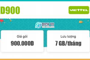 Đăng ký gói D900 Viettel mỗi tháng có 7GB Data