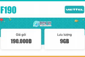 Gói F190 Viettel ưu đãi 9GB & gọi thoại thả ga