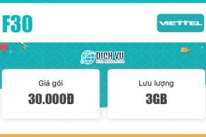 Đăng ký gói combo F30 Viettel ưu đãi 3GB & miễn phí gọi nội mạng dưới 20 phút