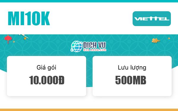 Đăng ký gói MI10K Viettel nhận 500MB Data tốc độ cao
