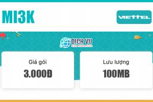 Đăng ký gói Mi3K Viettel nhận ngay 100MB Data