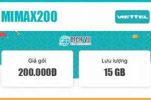 Đăng ký gói Mimax200 Viettel có ngay 15GB Data mỗi tháng