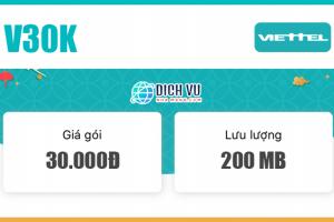 Đăng ký gói V30K Viettel nhận 200MB & 100 phút nội mạng