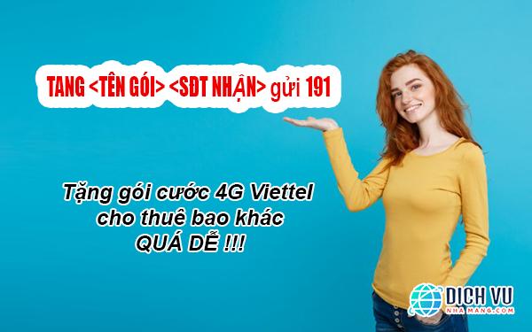 Tặng gói 4G Viettel cho thuê bao khác