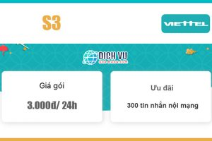Gói S3 Viettel - Ưu đãi 300 tin nhắn nội mạng giá 3k/ 24h