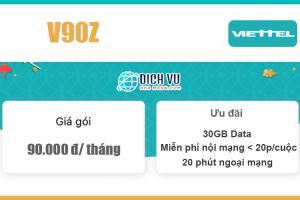 Gói V90Z Viettel - 30GB Data + Miễn phí gọi nội, ngoại mạng giá 90k/ tháng