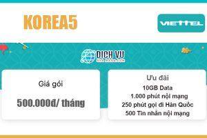 Gói KOREA5 Viettel - Ưu đãi combo 1.250 phút + 10GB + 500sms