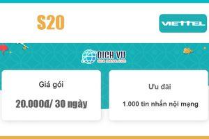 Gói S20 Viettel - Ưu đãi 1.000 tin nhắn nội mạng giá 20k/ 30 ngày
