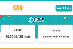 Gói S30 Viettel - Ưu đãi 1.500 tin nhắn nội mạng giá 30k/ 30 ngày
