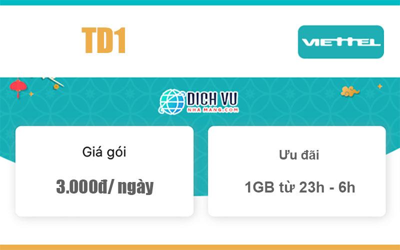 Gói TD1 Viettel - Ưu đãi Data 1GB Data giá rẻ 3.000đ