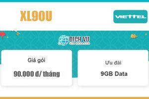 Gói XL90U Viettel - Ưu đãi trọn gói 9GB Data giá 90k/ tháng