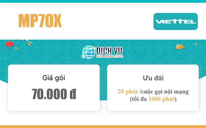 Gói MP70X Viettel – Miễn phí gọi nội mạng (tối đa 1000 phút)