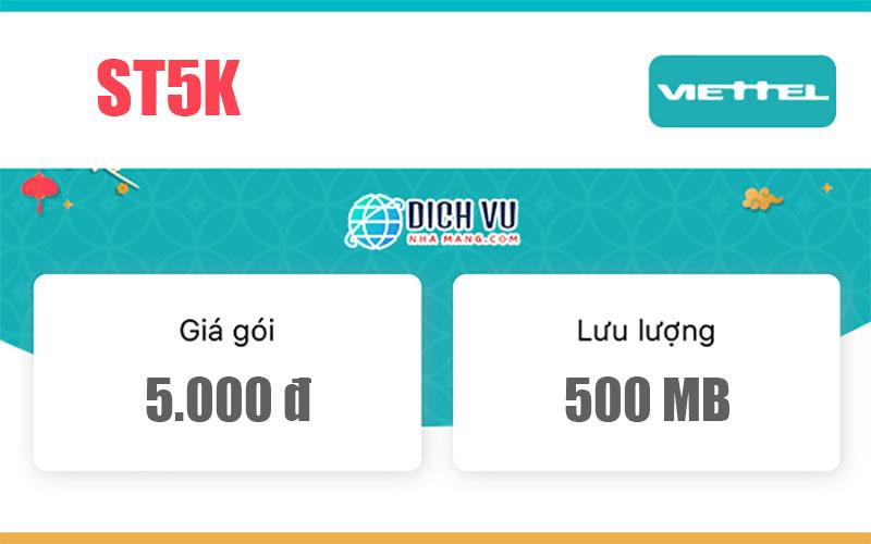 Gói ST5K Viettel – Miễn phí 500MB/ngày truy cập tốc độ cao chỉ 5k
