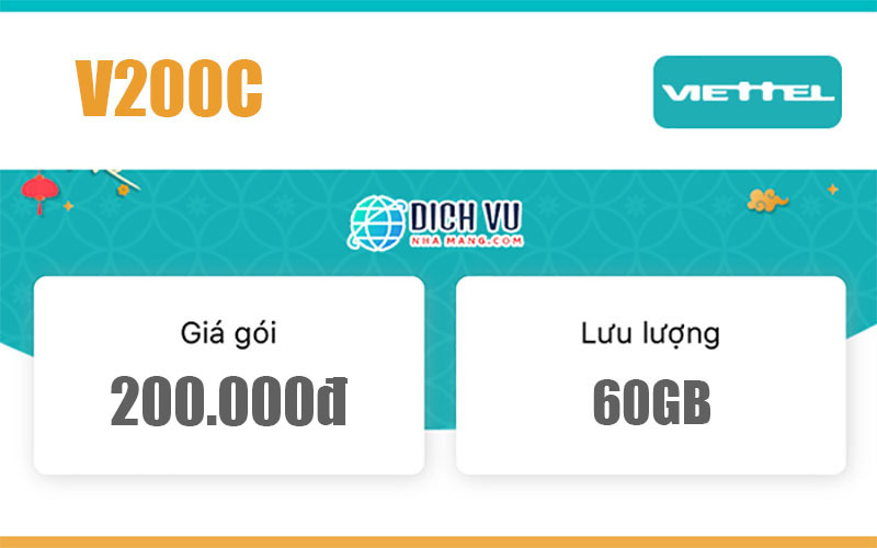 Gói V200C Viettel – Ưu đãi 60GB Data và gọi nội mạng miễn phí