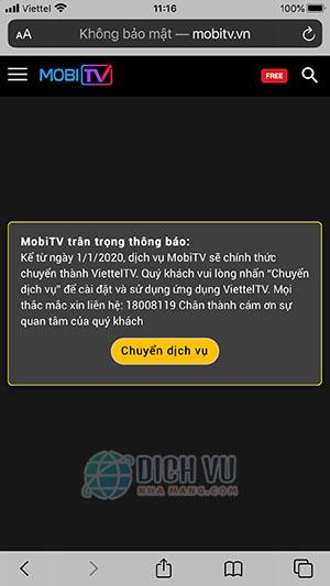 Thông báo MobiTV chuyển sagn ViettelTV