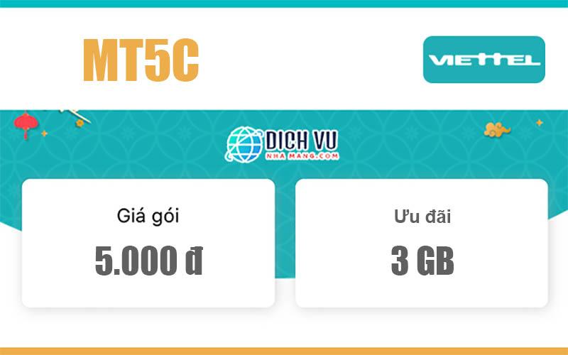 Gói MT5C Viettel - Miễn phí 3GB/ngày cho khách hàng Cà Mau, Bạc Liêu