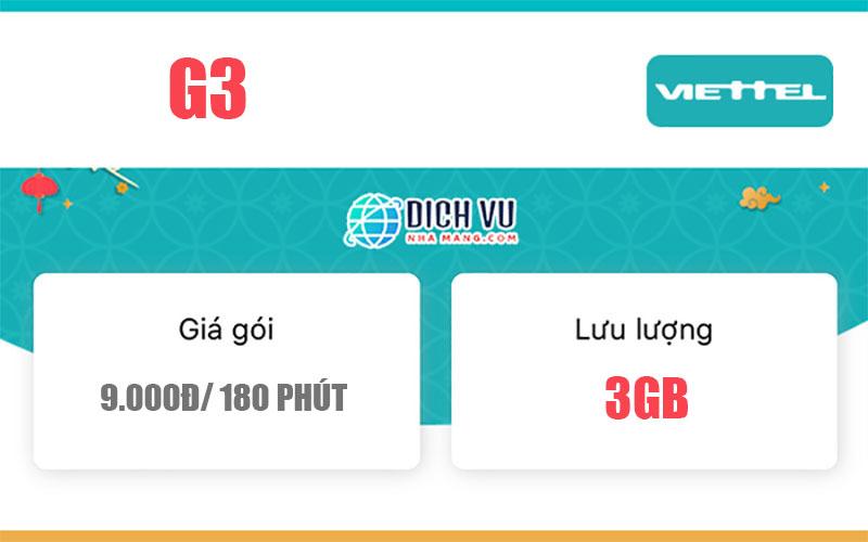 Gói G3 Viettel - Ưu đãi 3GB Data giá chỉ 9.000đ/ 3 giờ