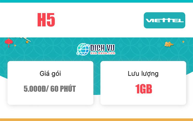 Gói H5 Viettel – Mua thêm 1GB Data chỉ 5.000đ/ 1 giờ