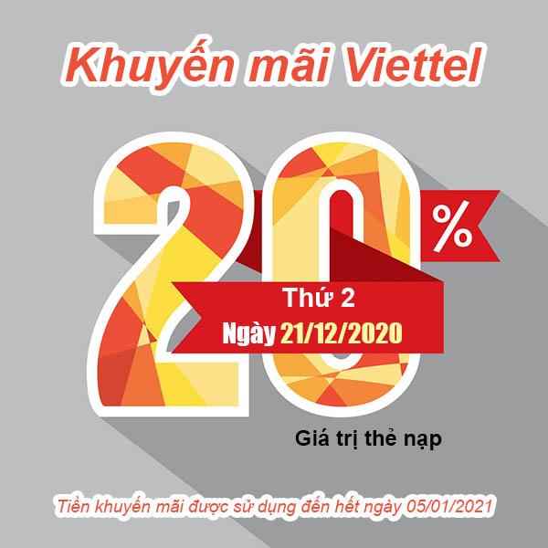 Ngày 21/12/2020, Viettel khuyến mãi tặng 20% giá trị thẻ nạp