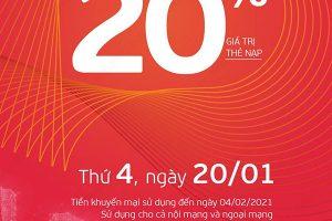Viettel tặng 20% giá trị thẻ nạp duy nhất ngày 30/12/2020