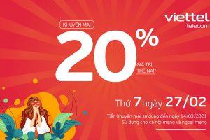 Viettel tặng 20% giá trị thẻ nạp duy nhất ngày 27/02/2021