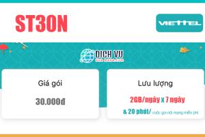 Gói ST30N Viettel – Ưu đãi 7GB Data, Gọi nội mạng tối đa 1000 phút