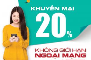 Viettel tặng 20% giá trị thẻ nạp duy nhất ngày 10/07/2021