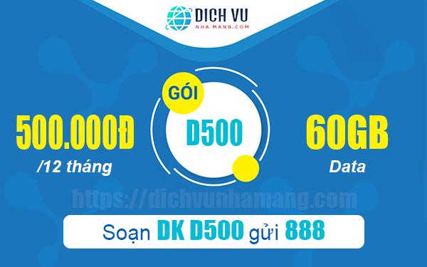 Đăng ký gói D500 Vinaphone 60GB 6 tháng