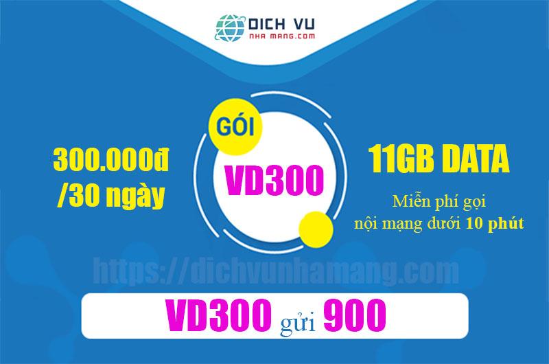 Gói VD300 Vinaphone - Miễn phí gọi thoại, tin nhắn + 11GB trong 30 ngày